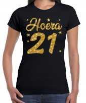Zwart hoera 21 jaar verjaardag t-shirt voor dames met gouden glitter bedrukking kopen