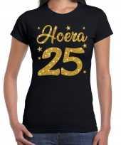 Zwart hoera 25 jaar verjaardag jubileum t-shirt voor dames met gouden glitter bedrukking kopen