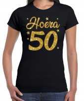 Zwart hoera 50 jaar verjaardag sarah t-shirt voor dames met gouden glitter bedrukking kopen