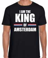 Zwart i am the king of amsterdam shirt koningsdag t-shirt voor heren kopen
