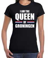 Zwart i am the queen of groningen shirt koningsdag t-shirt voor dames kopen