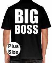 Zwart plus size big boss polo t-shirt voor heren kopen