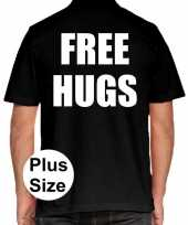 Zwart plus size free hugs polo t-shirt voor heren kopen