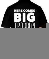Zwart plus size here comes big trouble polo t-shirt voor heren kopen