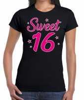 Zwart sweet 16 verjaardags kado t-shirt voor dames kopen
