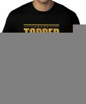 Zwart t-shirt in grote maat heren met tekst topper in gouden glitter letters kopen