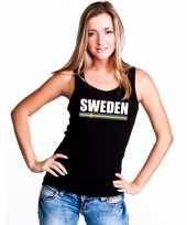 Zweden supporter mouwloos shirt tanktop zwart dames kopen