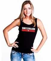 Zwitserland supporter mouwloos shirt tanktop zwart dames kopen